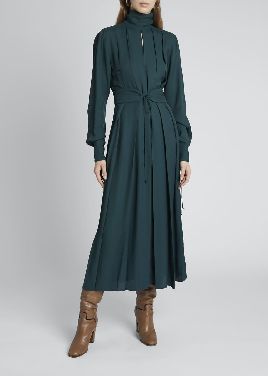 Victoria Beckham High-Neck Pleated Belted Midi Dress