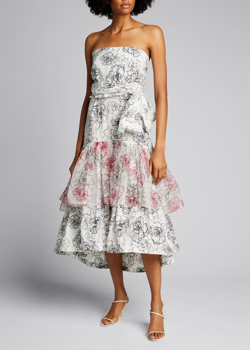 Silvia Tcherassi Floral Strapless Square-Neck Ruffle Hem Dress