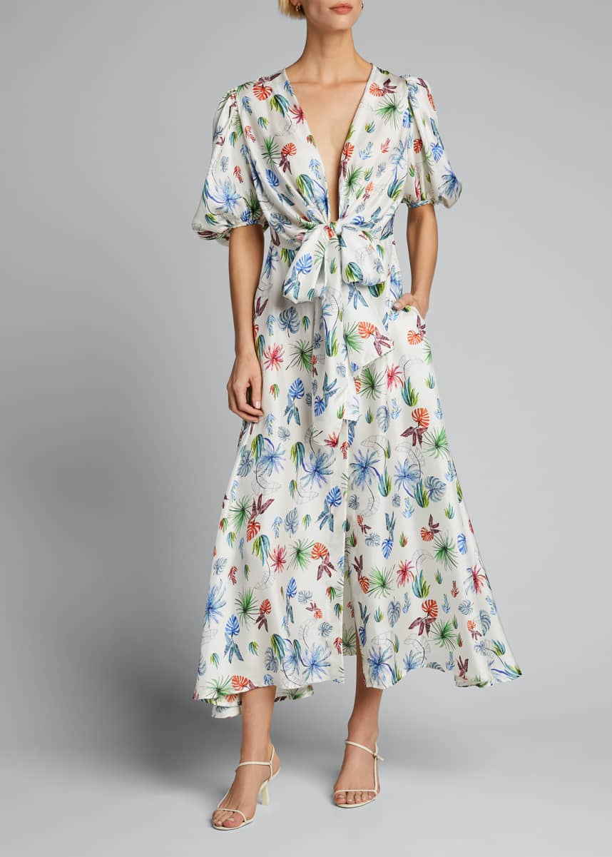 Silvia Tcherassi Palm Print Silk Puff-Sleeve Dress