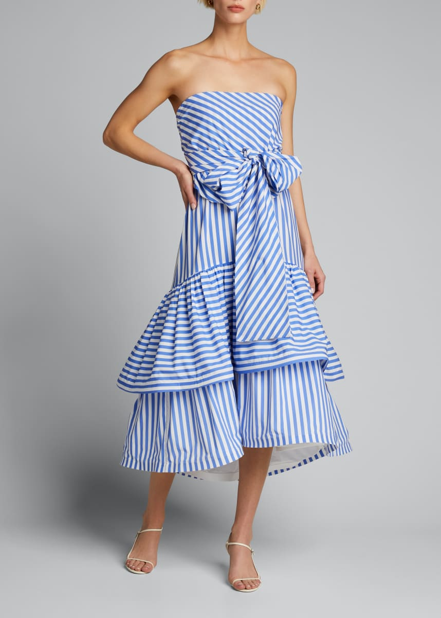 Silvia Tcherassi Striped Strapless Tiered Ruffle Dress