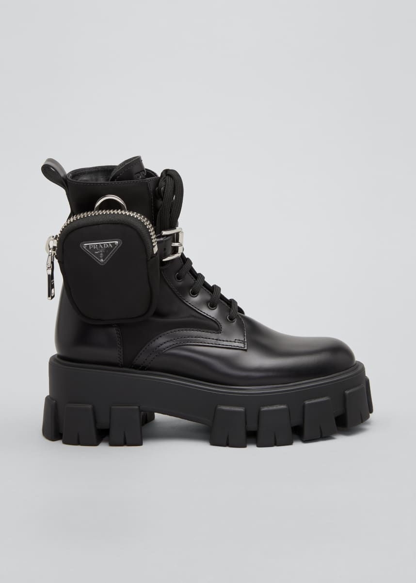 Prada Leather Zip Pocket Combat Booties