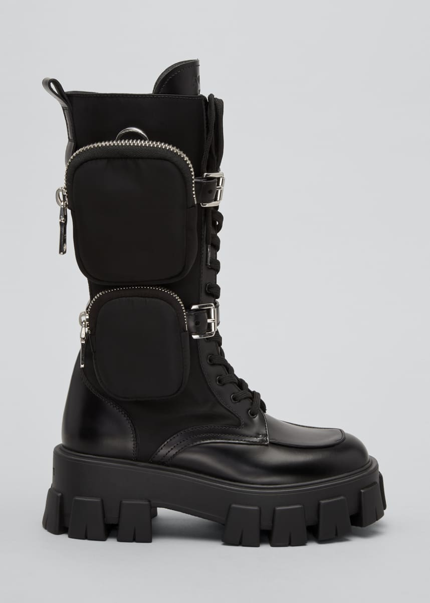 Prada Leather Zip-Pocket Tall Combat Boots