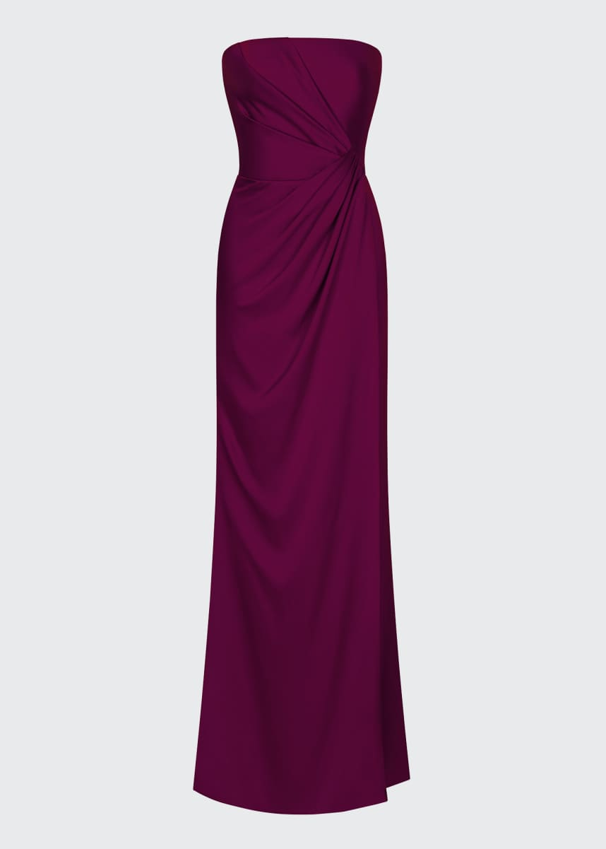 Rasario Ruched Satin Strapless Gown