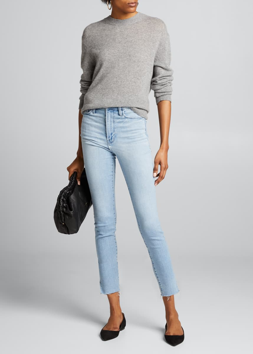 FRAME Ali High-Rise Ankle Slit Cigarette Jeans