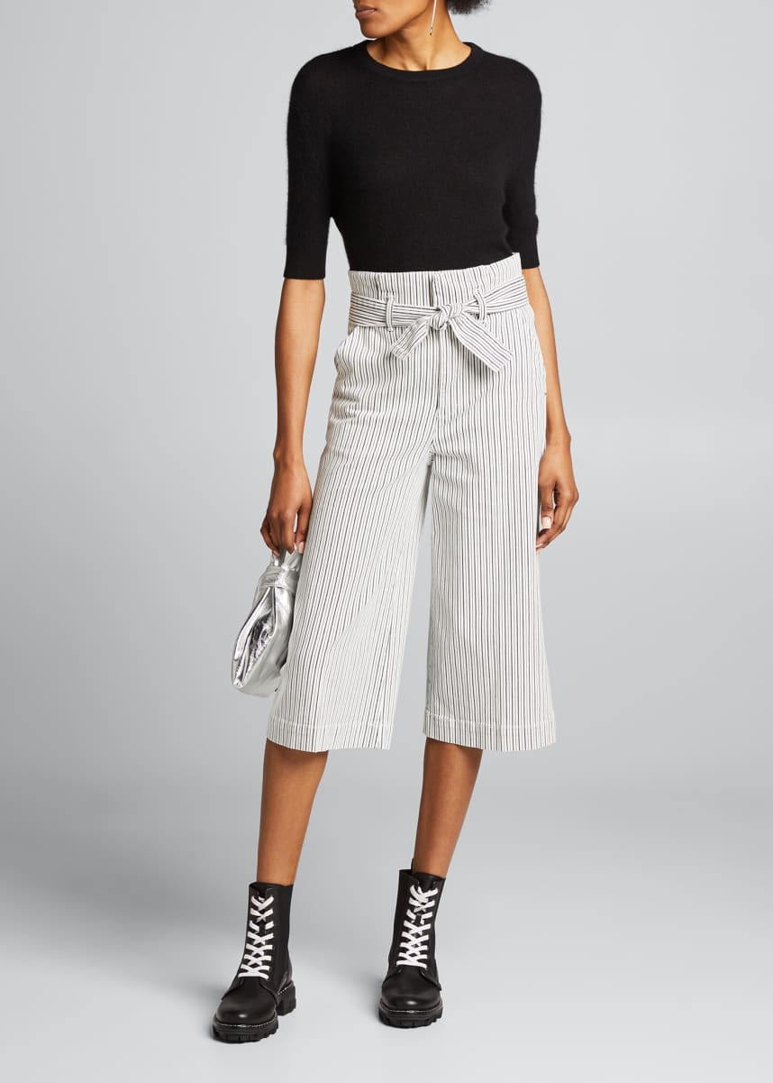 FRAME Striped Pleated Culottes w/ Belt
