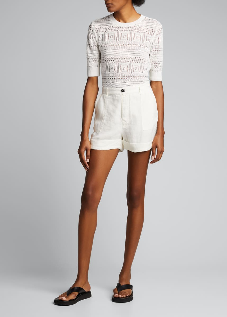 FRAME Le Beau High-Rise Cuffed Linen Shorts