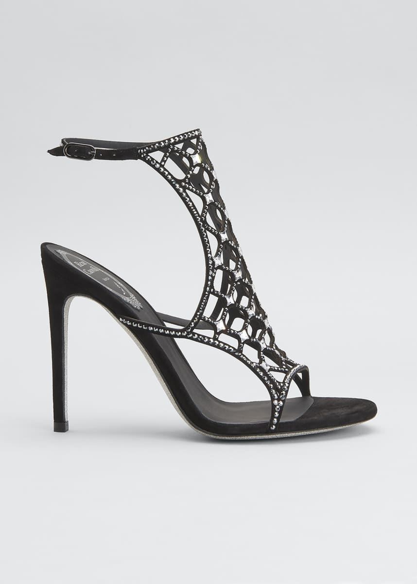Rene Caovilla 105mm Crystal Laser-Cut Cage Sandals
