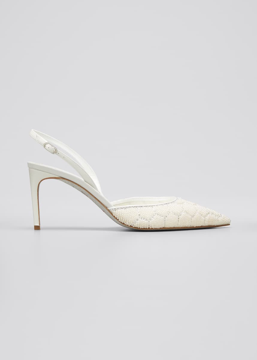 Rene Caovilla Beaded Hive Cocktail Slingback Pumps, White