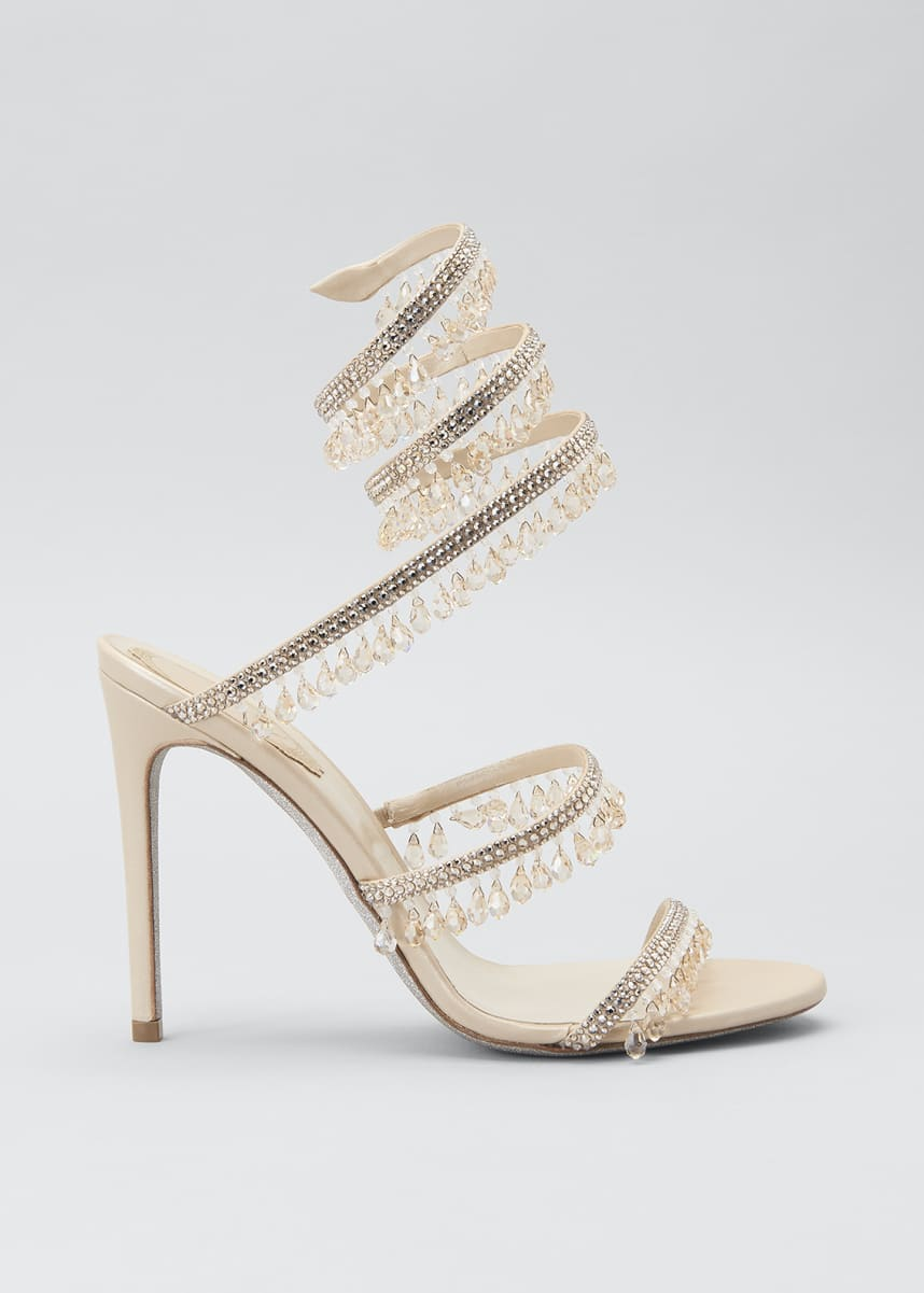 Rene Caovilla Chandelier Snake Beaded Crystal Ankle-Wrap Sandals