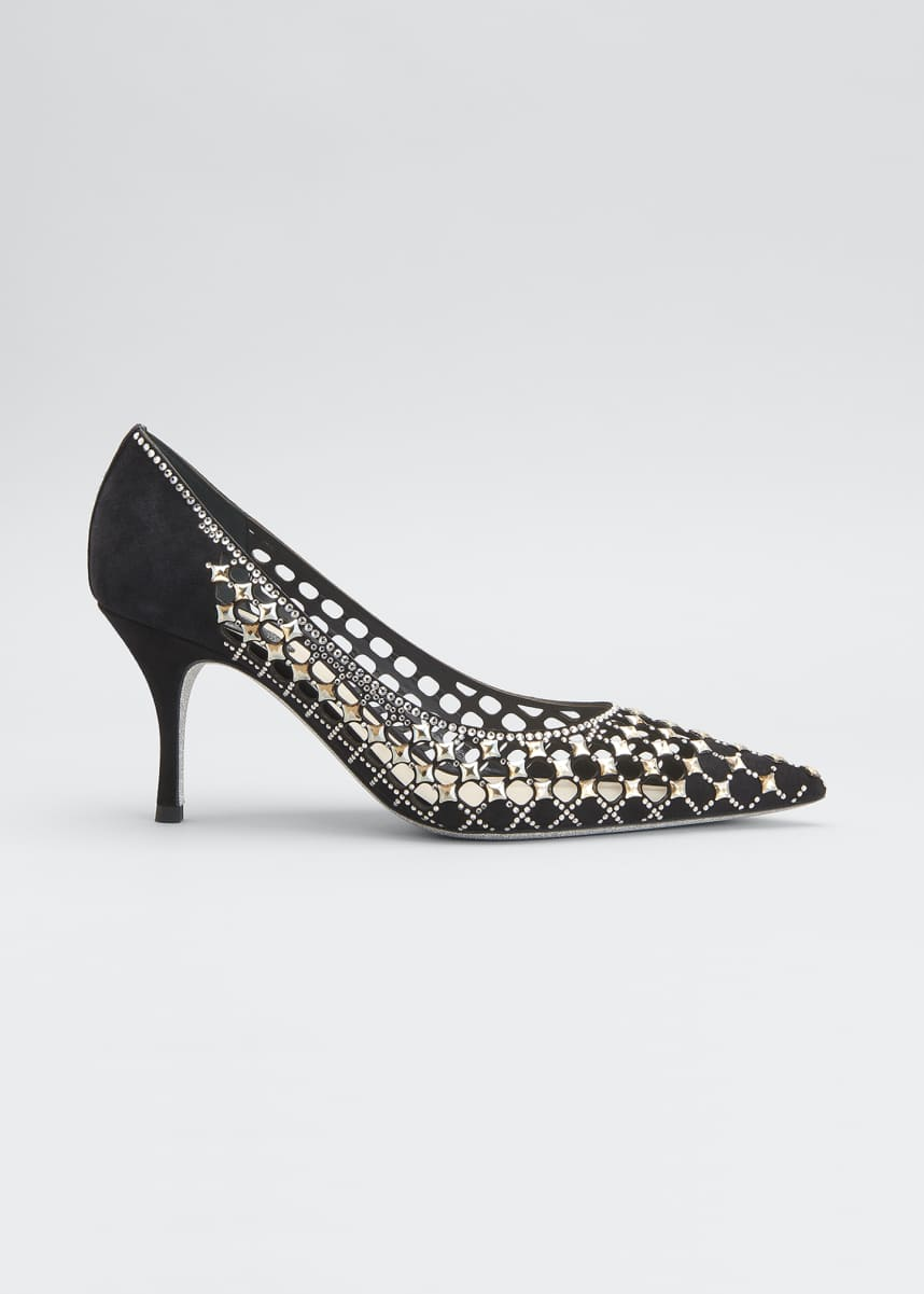Rene Caovilla 75mm Laser Cut Suede Pumps