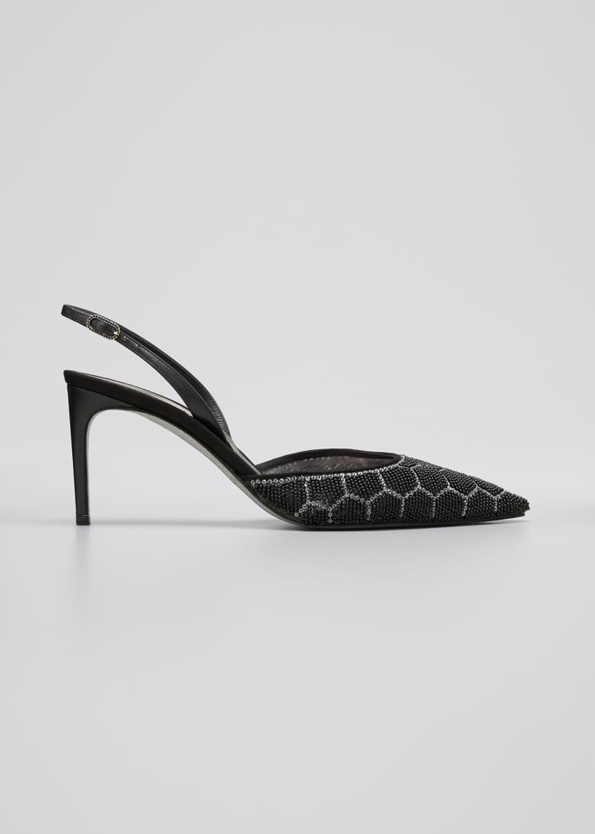 Rene Caovilla Beaded Hive Cocktail Slingback Pumps