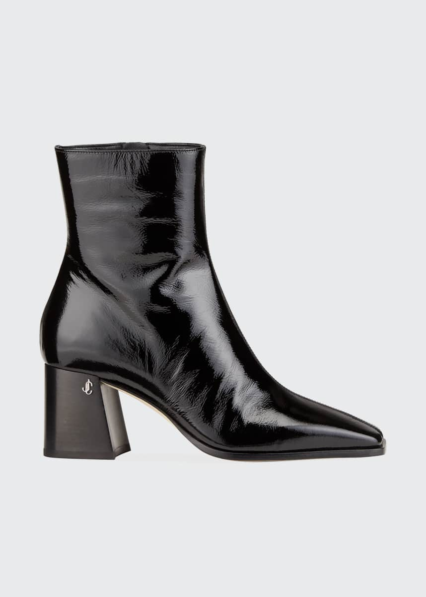 Jimmy Choo Bryelle Wet Leather Zip Booties