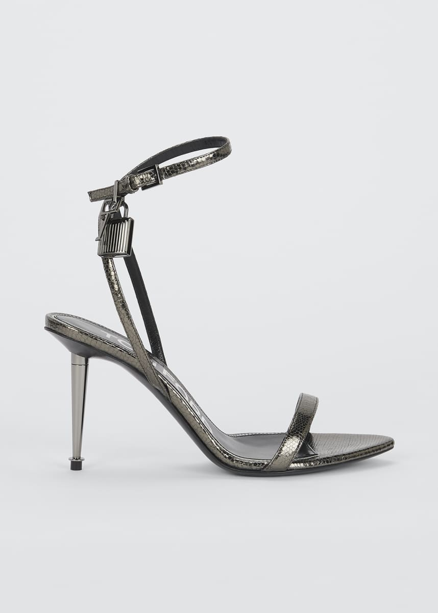 TOM FORD 85mm Lock Lizard-Print Leather Sandals