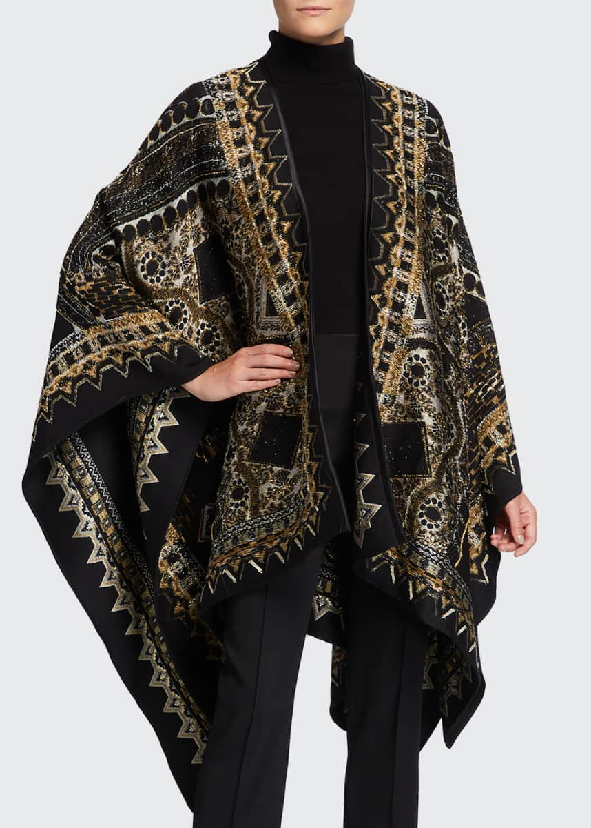 Etro Embroidered Metallic Cape