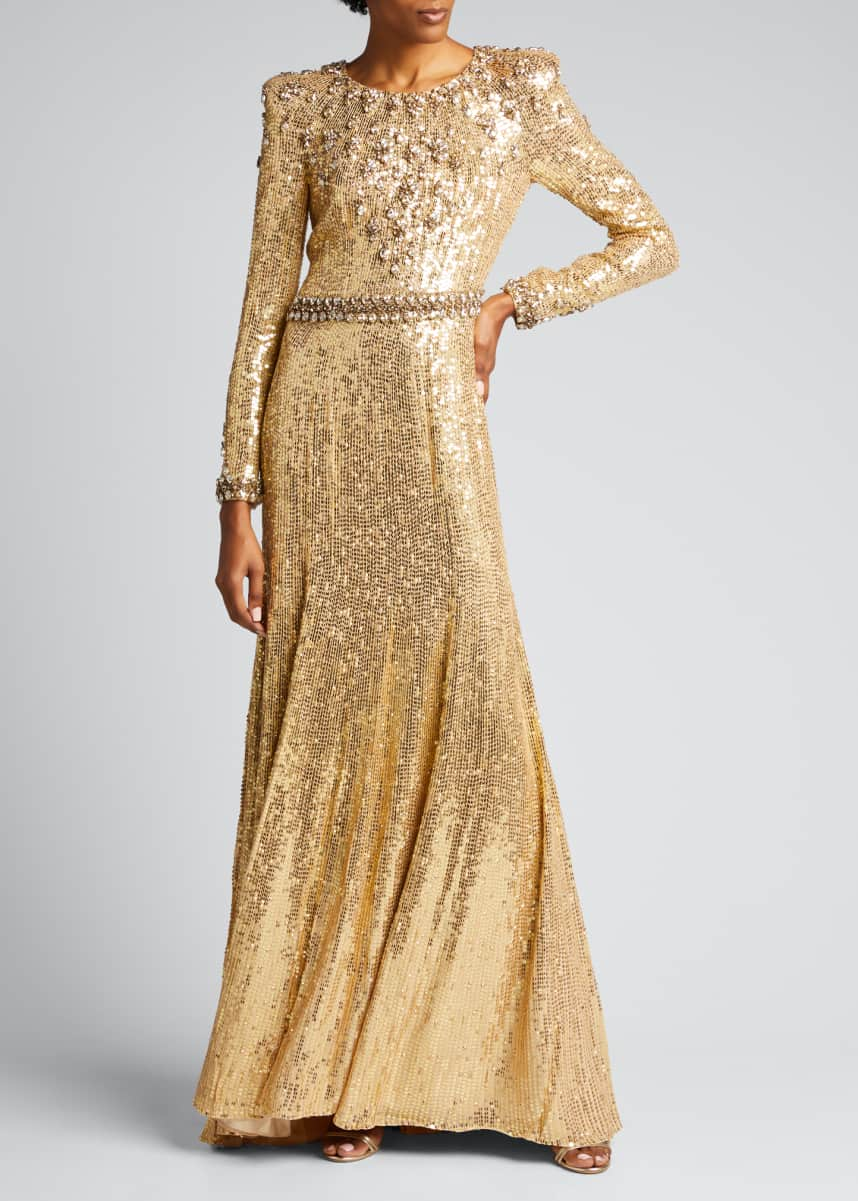 Jenny Packham Embellished Long-Sleeve Column Gown