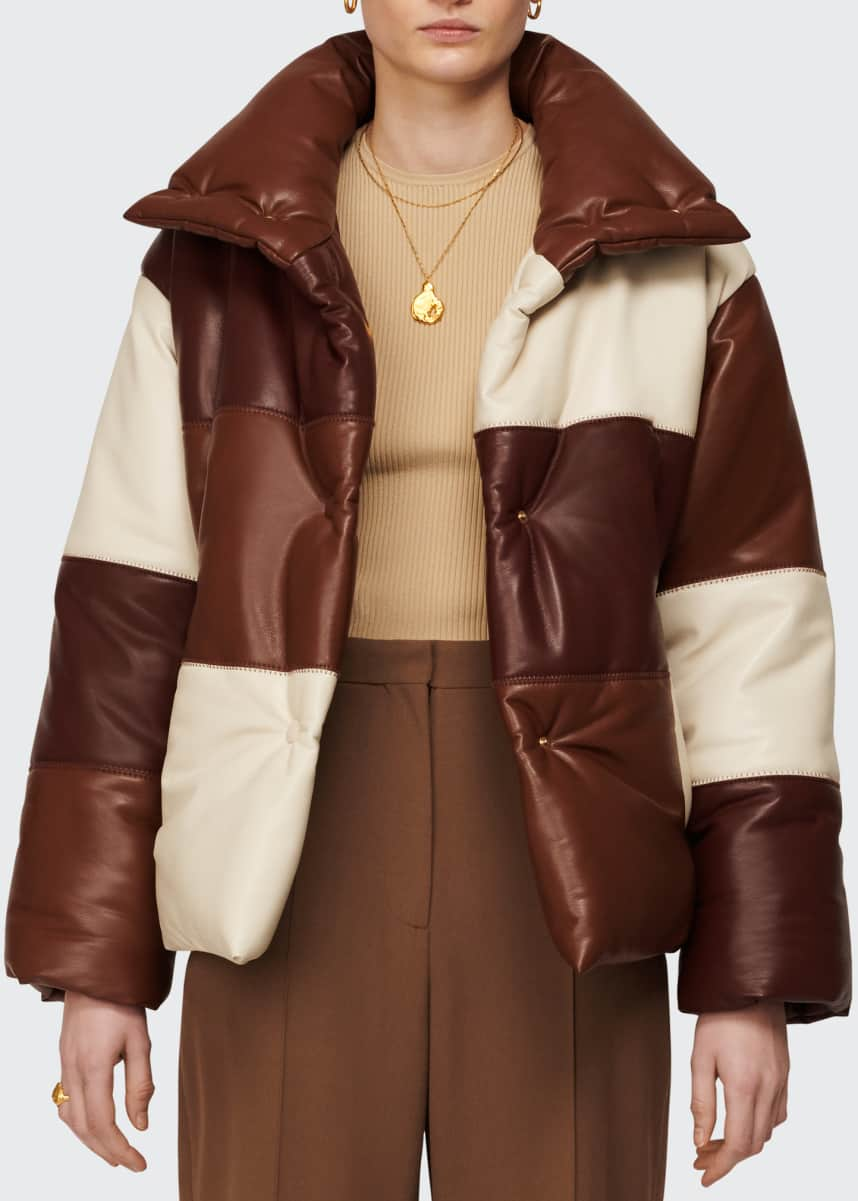 Nanushka Hide Colorblock Puffer Coat