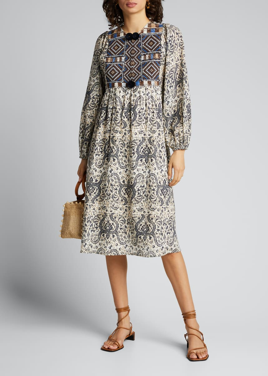 Figue Lucie Mosaic-Embroidered Voile Dress