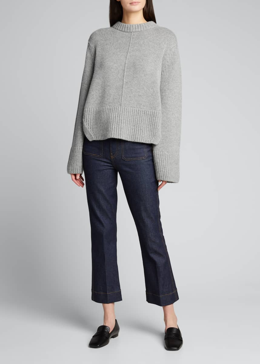 Khaite Virginia Cashmere Split-Back Pullover