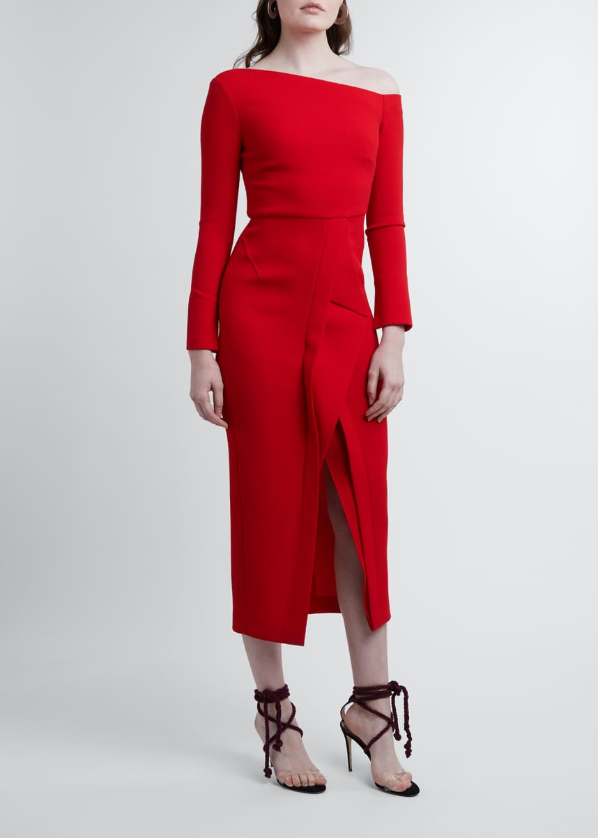 Roland Mouret Trevi Long-Sleeve Sheath Dress