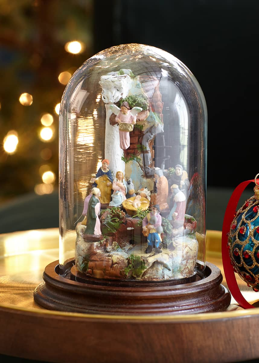 Marco Ferrigno Small Nativity With Glass Dome