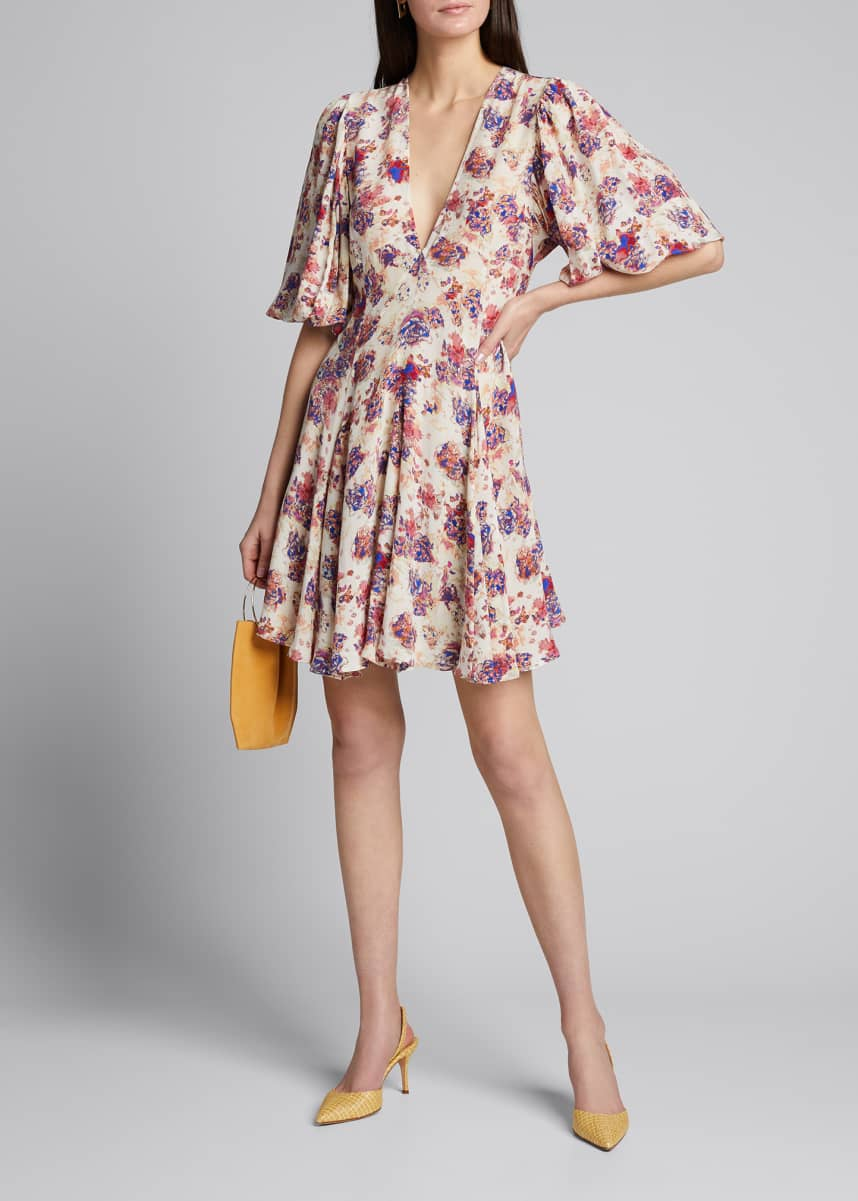 Iro Gallery Floral V-Neck Short Dress