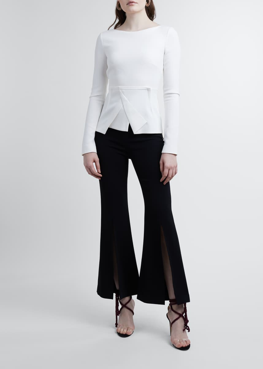 Roland Mouret Pirin Long-Sleeve Top