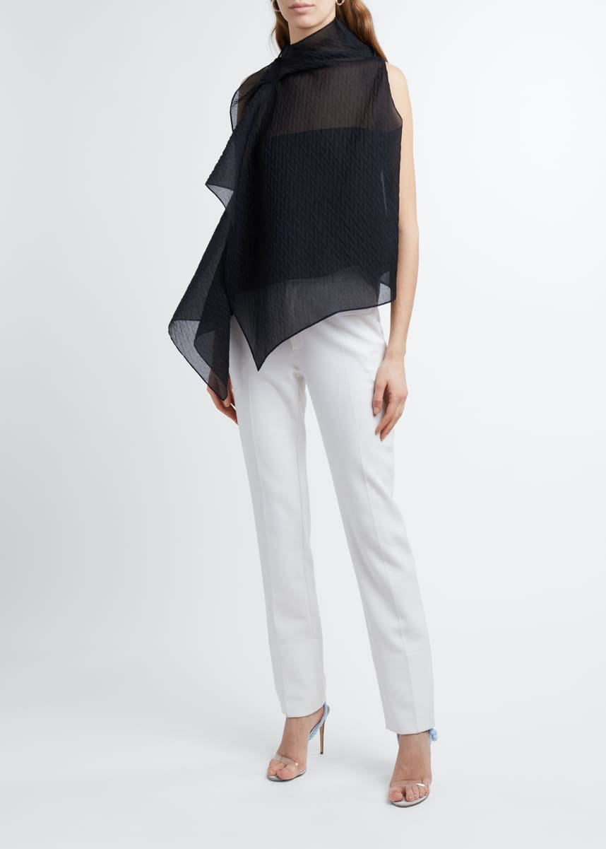Roland Mouret Organza High-Neck Asymmetric Top