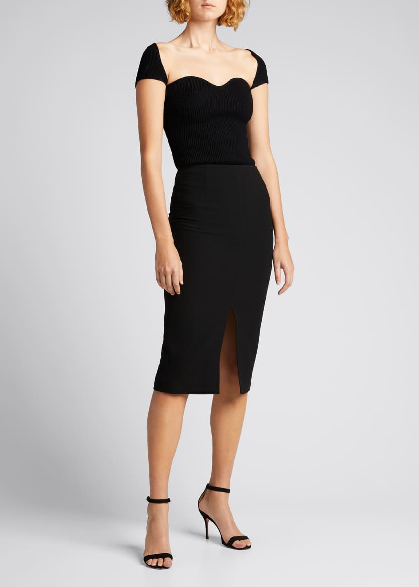 Roland Mouret Moka Wool Pencil Skirt