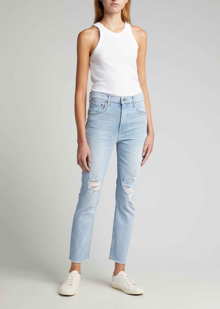 GRLFRND Reed Distressed Straight-Leg Cropped Jeans
