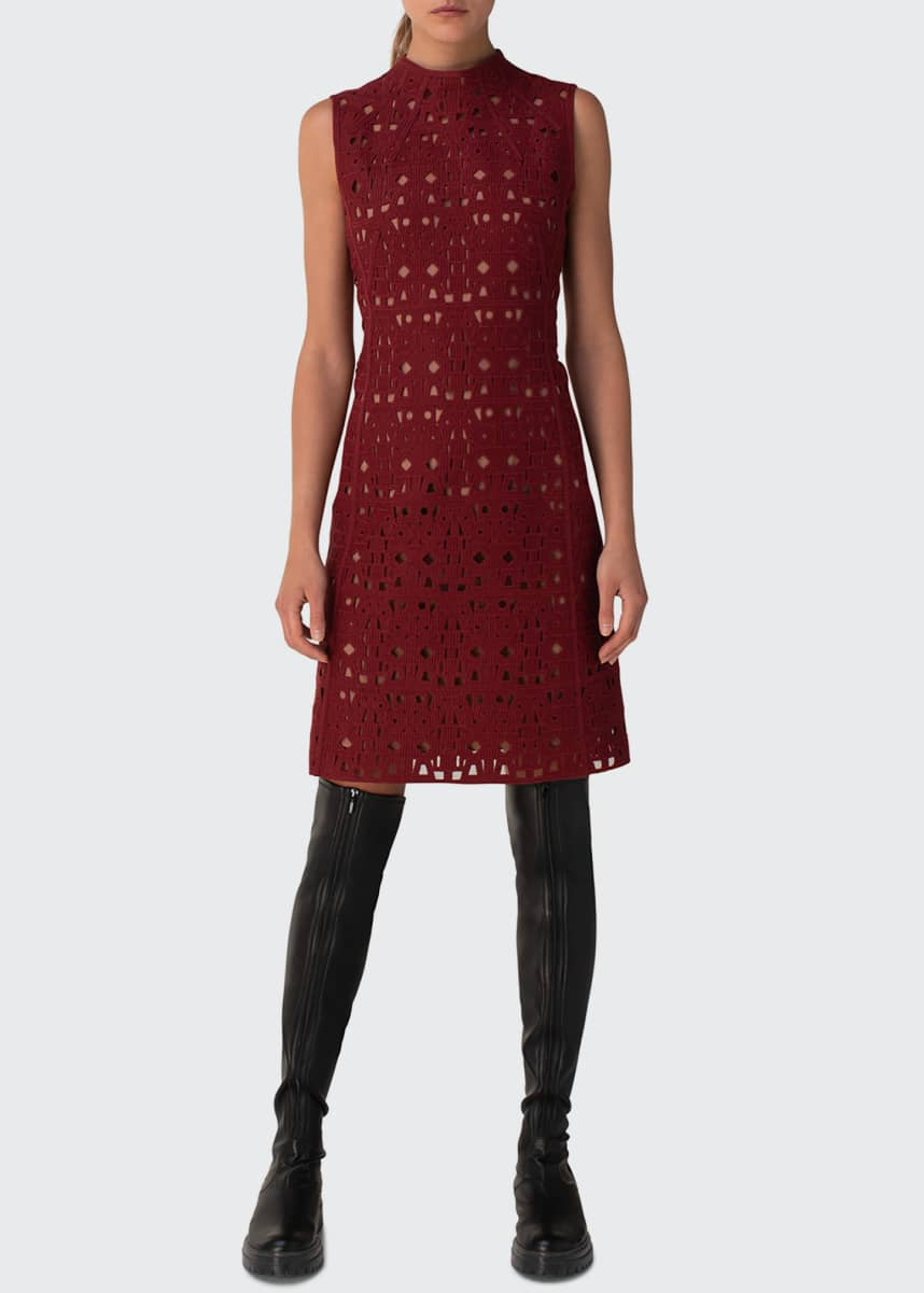 Akris Openwork Embroidered Sheath Dress