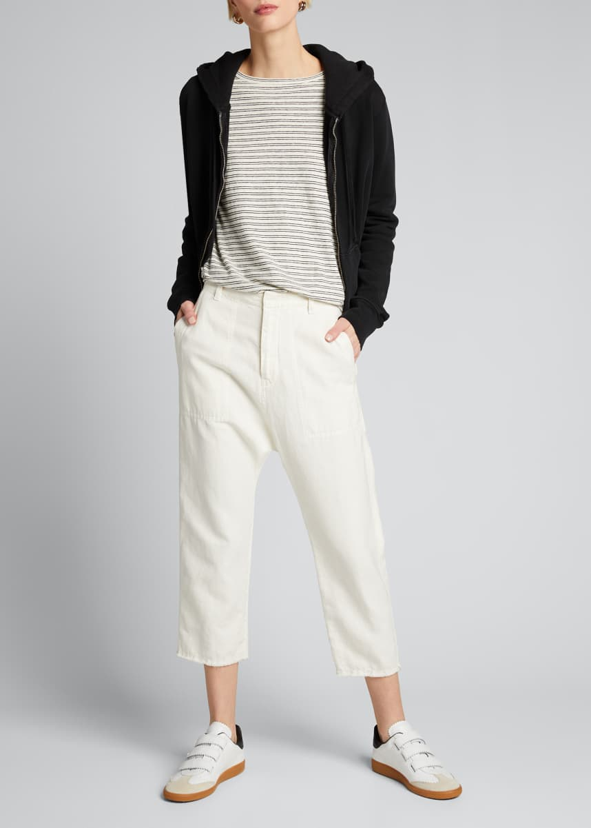Nili Lotan Luna Cotton-Linen Cropped Pants