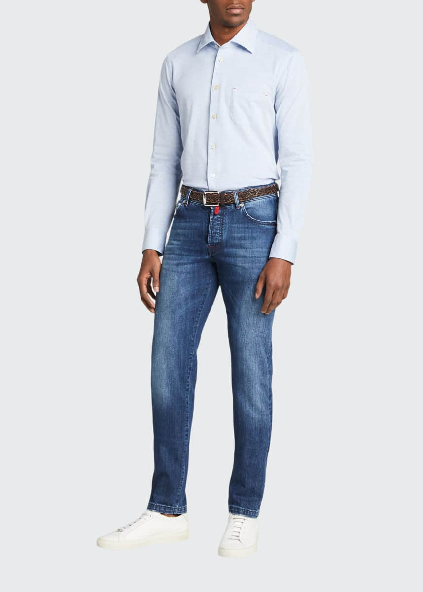 Kiton Men's Solid Pique Pocket Sport Shirt