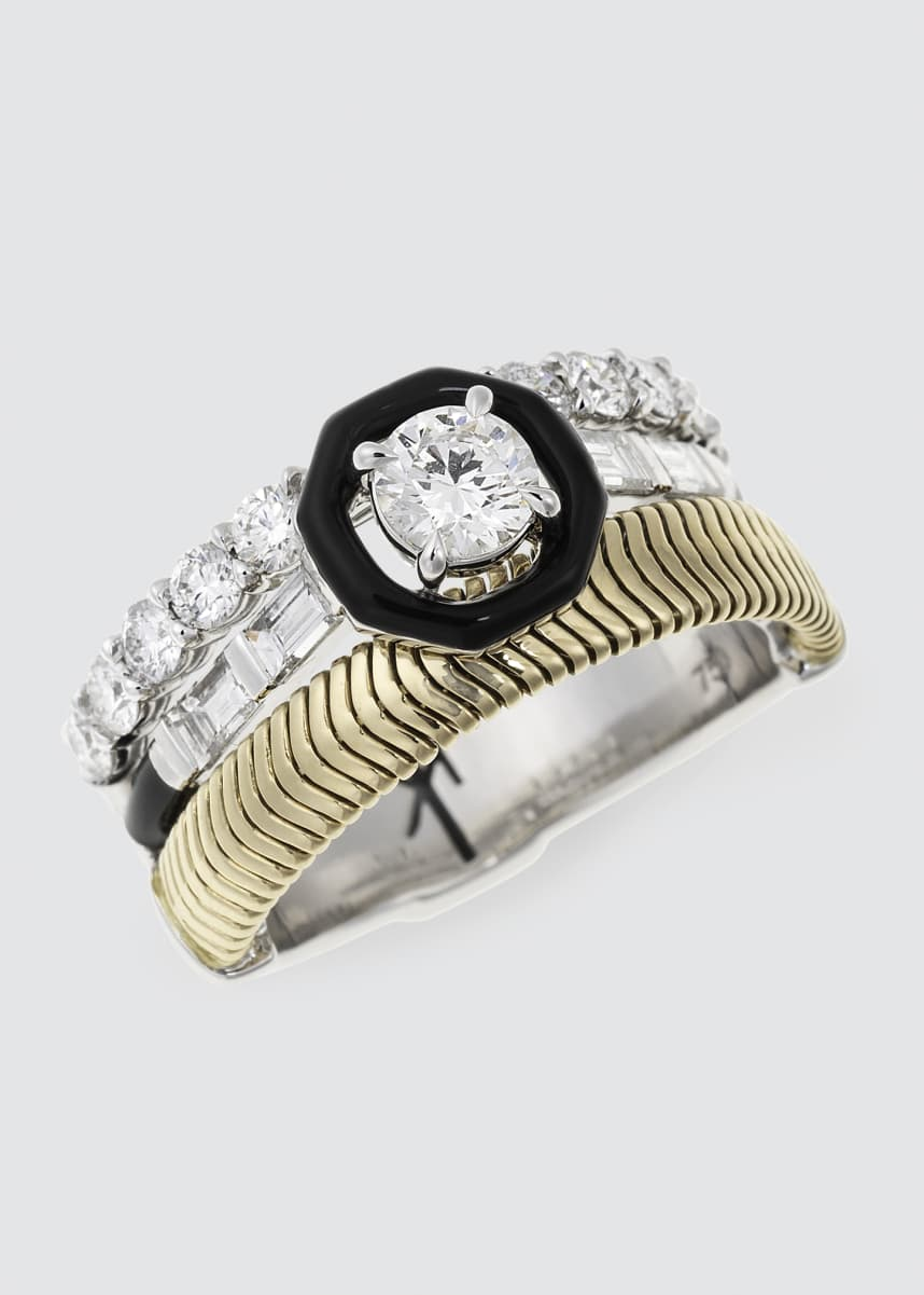 Nikos Koulis Feelings Ring w/ Round And Baguette Cut Diamond And Black Enamel 18K Yellow And White Gold 1.43Tcw Diamond