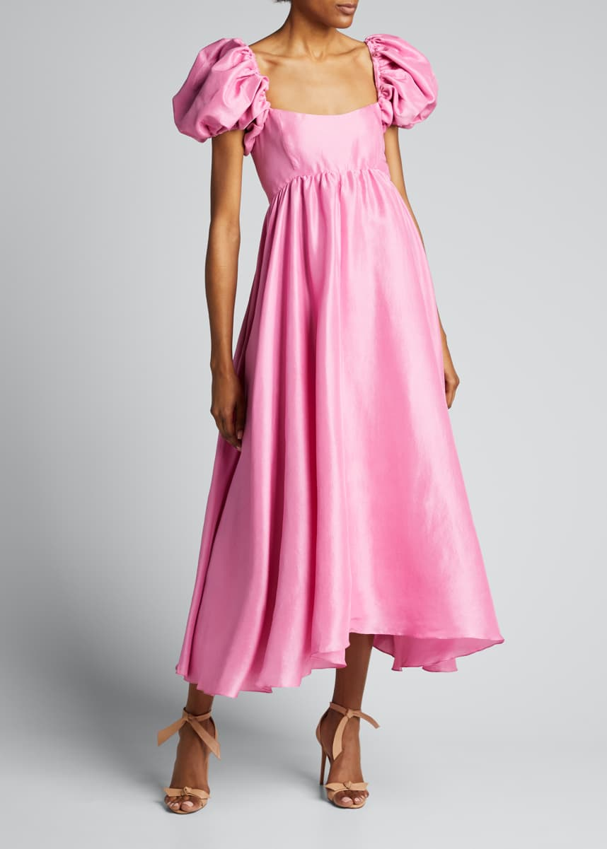 Azeeza Rory Puff-Sleeve Silk Midi Dress