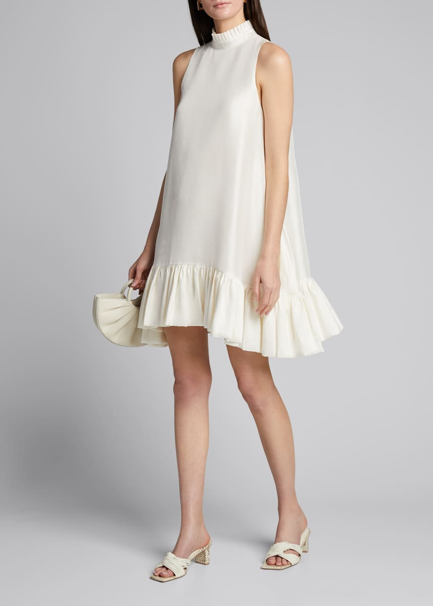 Azeeza Alcott High-Neck Flounce Dress