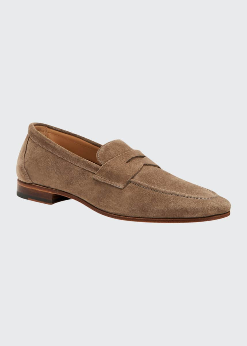 Aquatalia Men's Joey Weatherproof Suede Penny Loafers