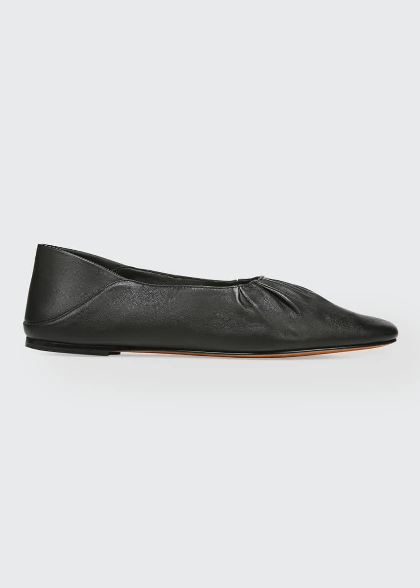 Vince Kali Ruched Leather Ballerina Flats