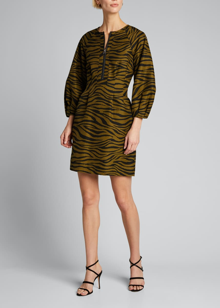 Veronica Beard Navi Tiger Stripe Puff-Sleeve Dress