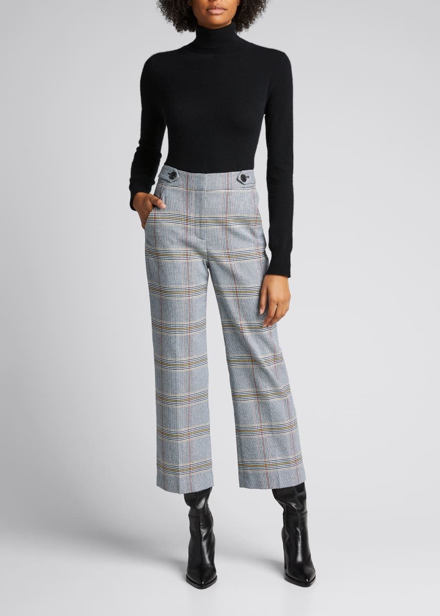 Veronica Beard Isley Check Cropped Pants