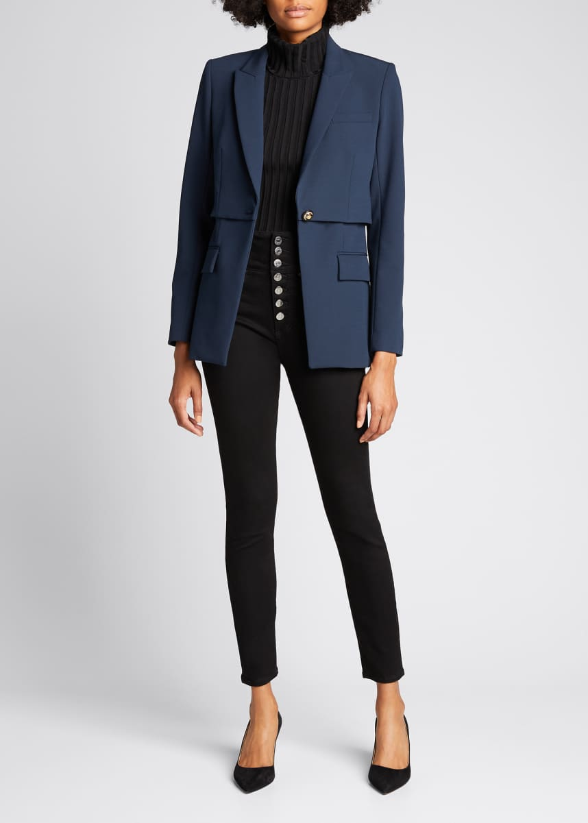 Veronica Beard Mori Tiered Stretch Dickey Jacket