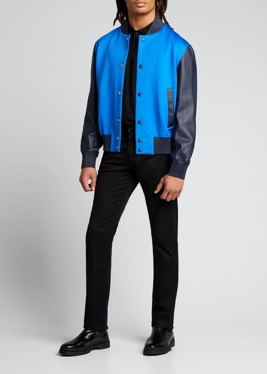 Givenchy Men's Debossed Neoprene/Leather Bomber Jacket