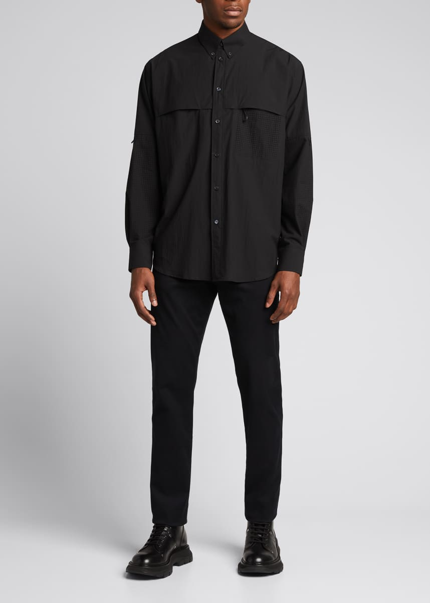 Givenchy Men's Loose-Fit Overshirt w/ Logo Back