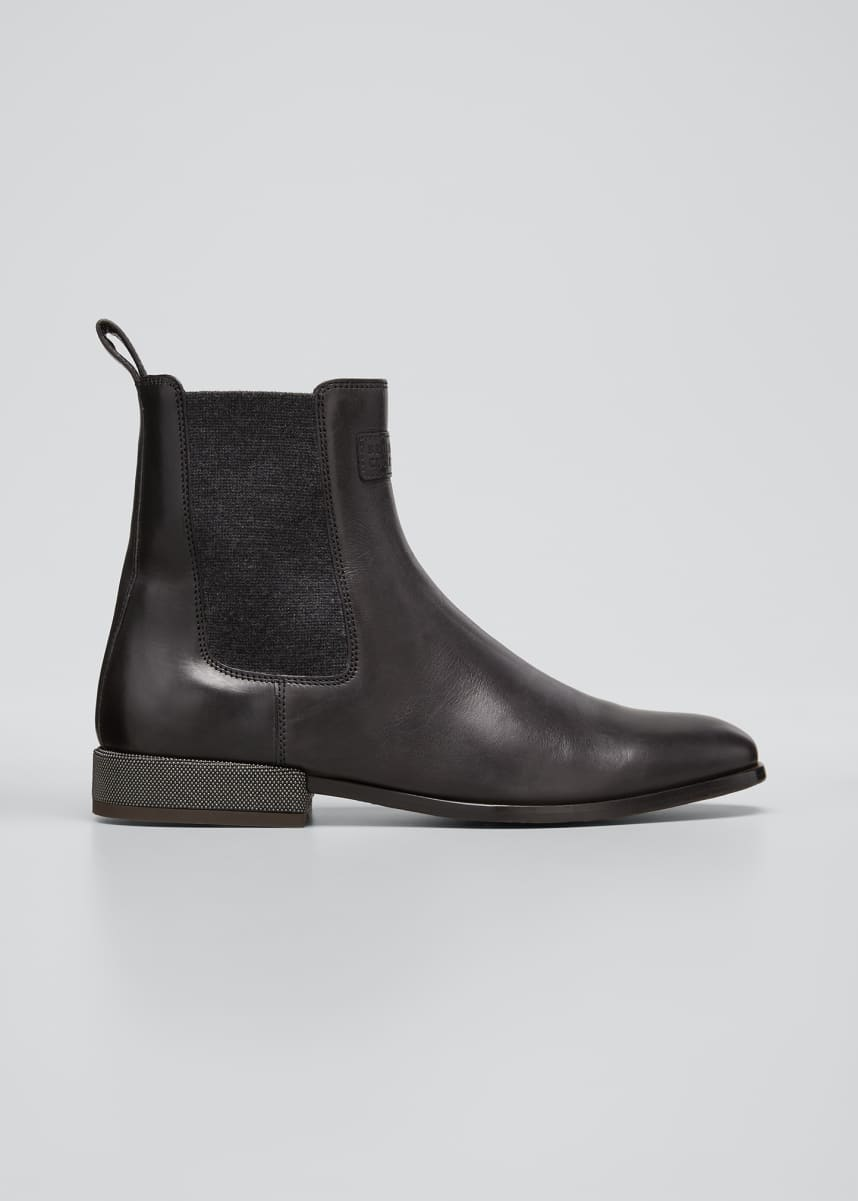 Brunello Cucinelli Leather Monili-Heel Chelsea Booties