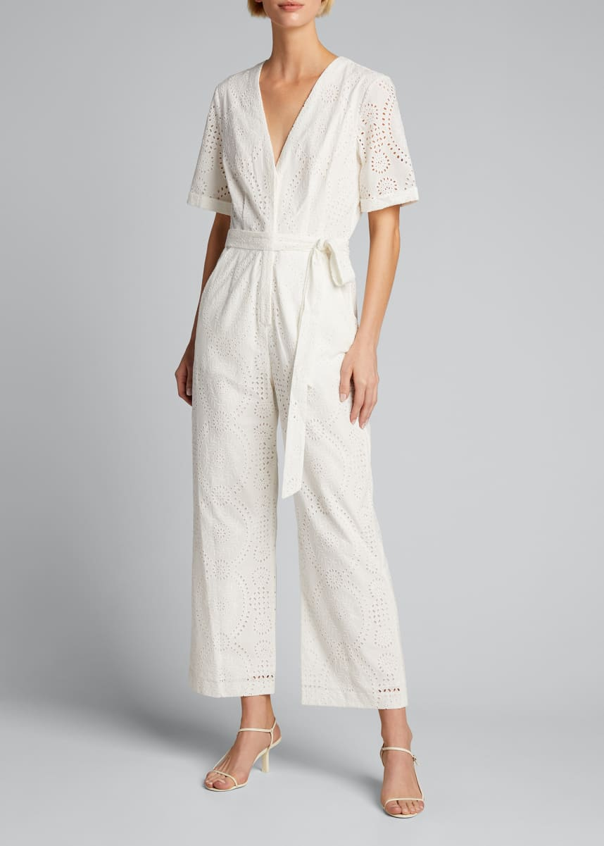 Jonathan Simkhai Louise Broderie Anglaise Belted Jumpsuit