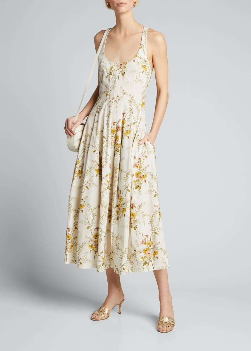 Brock Collection Floral Print Cotton Midi Dress