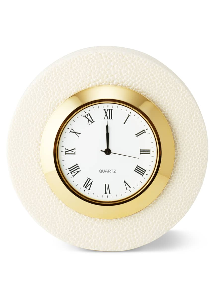 AERIN Shagreen Cream Desk Clock