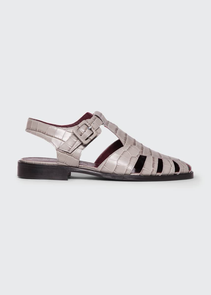 Staud Brady Mock Croc Fisherman Sandals