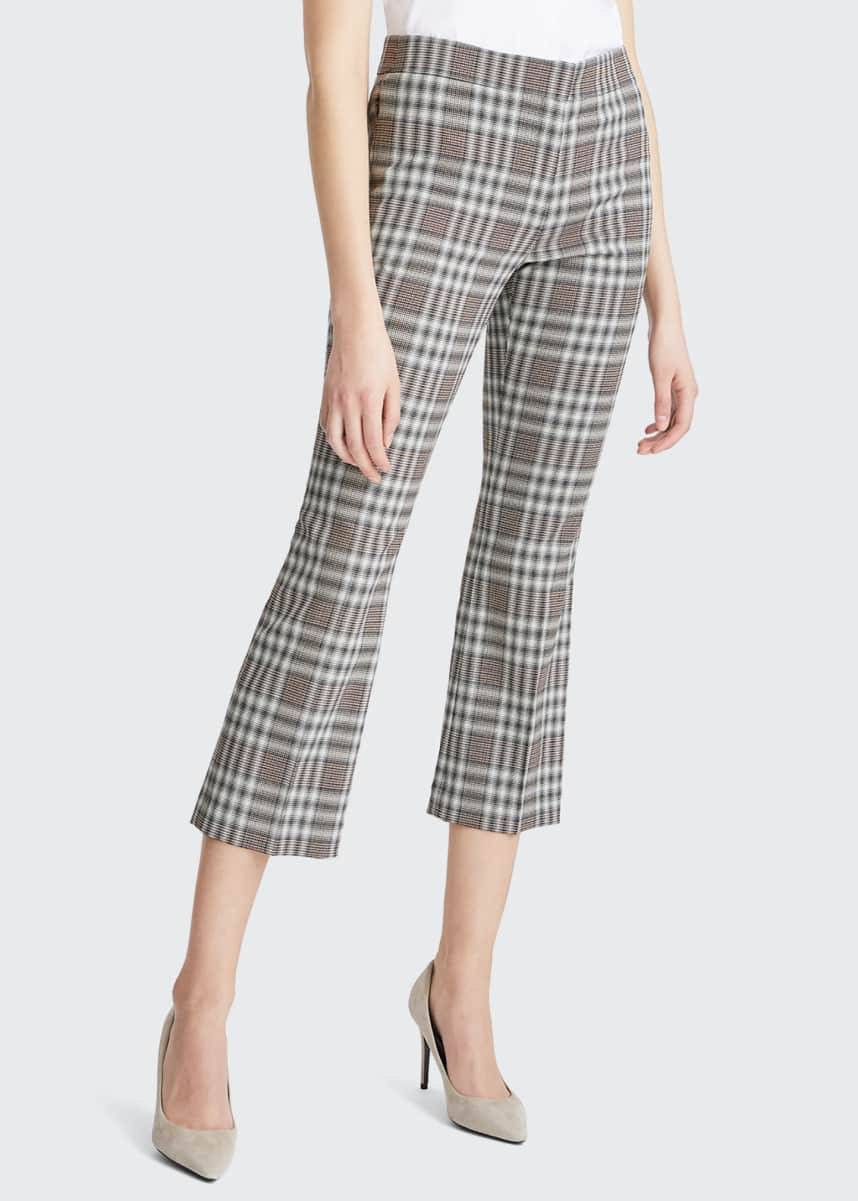 Theory Mid-Rise Plaid Kick Pants