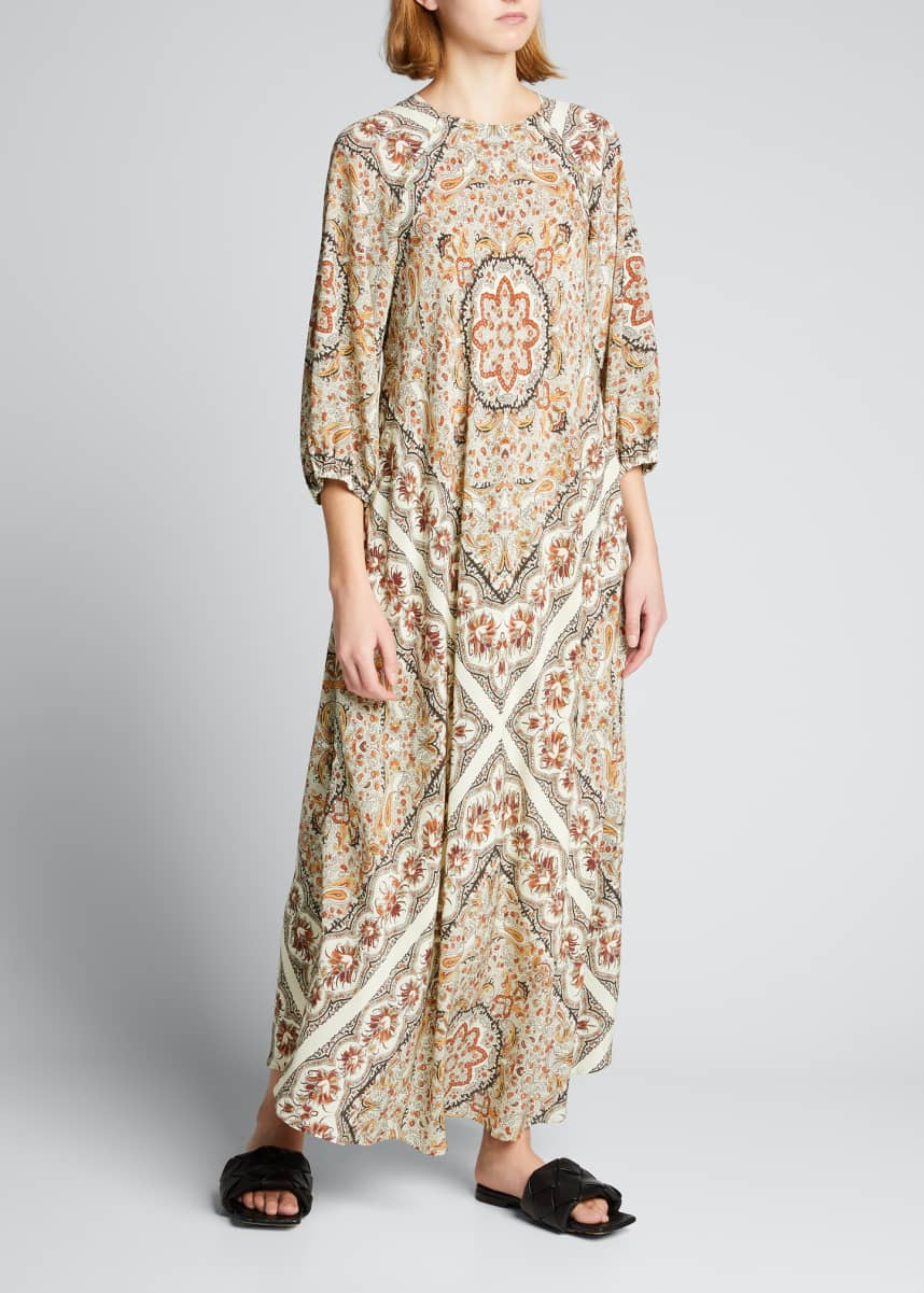 Warm Nomad 3/4-Sleeve Printed Maxi Dress