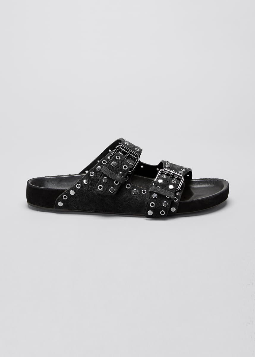 Isabel Marant Lennyo Studded Suede Slide Sandals